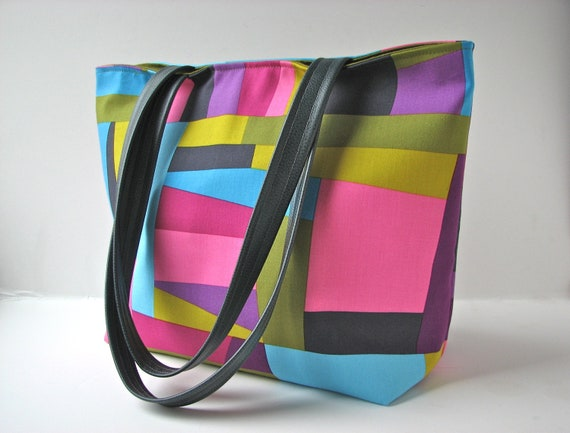 RESERVED FOR KATHY - Tote Bag in Colorblock Pink, Grey, Blue, Green with Faux Leather Accents - ready to ship