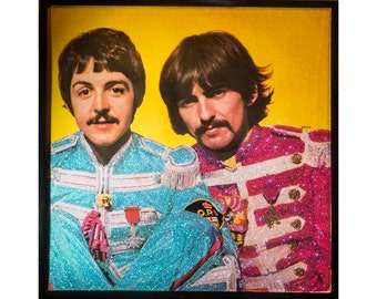 Glittered Beatles Sgt Peppers Paul and George Album Cover