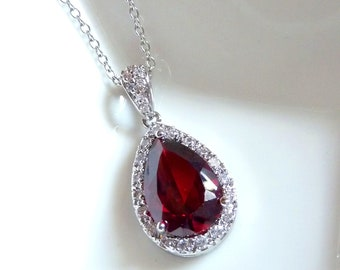 Bridal Necklace - High Quality Large Dark Red Peardrop Cubic Zirconia with Multi Round CZs Necklace