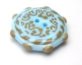 Handmade lampwork glass button  -  Sky Writing  -  sky blue button, folk button, shabby chic button,  glass button
