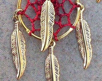 REALLY RED  Dream Catcher Earrings in gold or silver, dreamcatcher earrings, FOUR feathers, dream catcher earrings, dangly long earrings