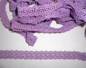 Vintage  Lace 5 Yards Lavender Lilac Purple Greek Key Design