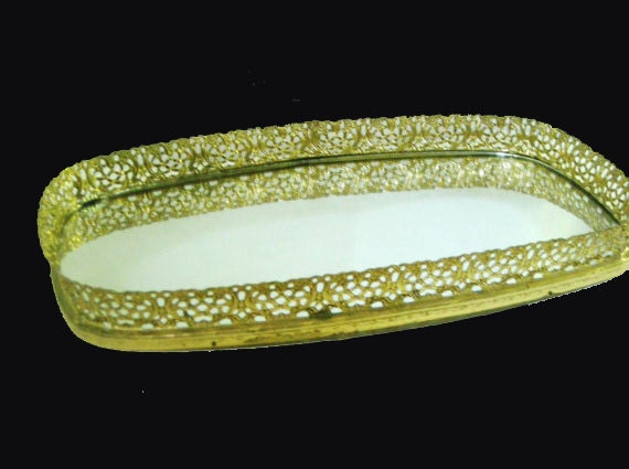 Vintage Gold Tone  Oval Mirrored Vanity Tray With Filigree Edge