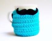 Cozy Cover Coffee Mug Tea Cup Handlebar Mustache turquoise crochet