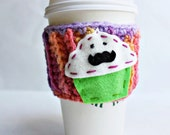 Travel Mug Coffee Tea Mustache Cupcake crochet pink green purple cover