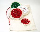 Christmas Iced Sugar Cookies, Crocheted Toy Play Set Food, Holiday Decor, Cookies for Santa, with Storage Bag