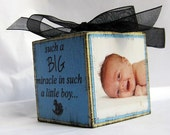 Baby's First Christmas Personalized Photo Block Blue