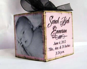 Baby's First Christmas Personalized Photo Block Pink