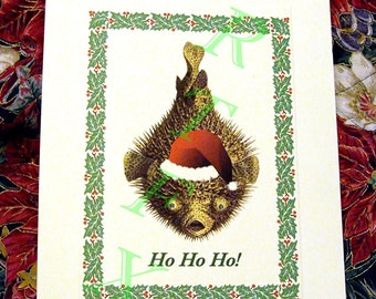 SALE Happy Puffer Fish Holiday Card 10 Pack Handmade
