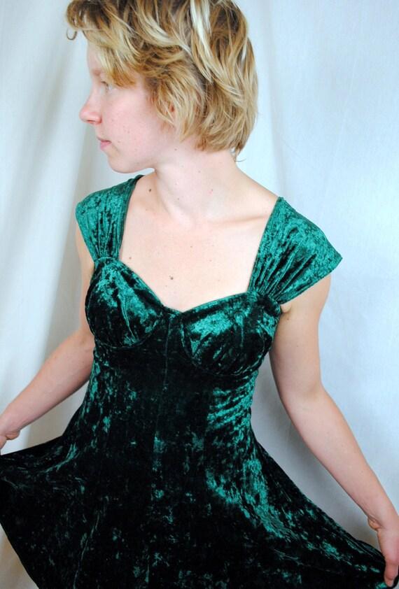 Vintage 1980s Green Velvet Mini Dress - Rampage