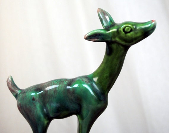 Sweet Vintage Green Deer Figurine