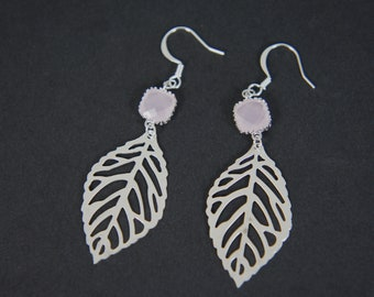 silver leaf earrings with ice pink stone, wedding, bridesmaids, casual, gift