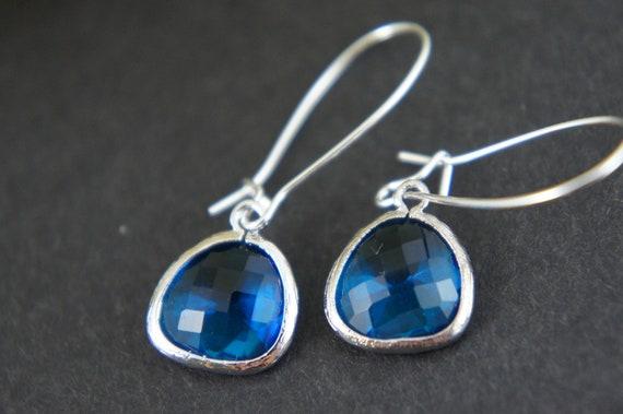blue gem silver earrings -  kidney ear wire, everyday earrings, silver framed earrings