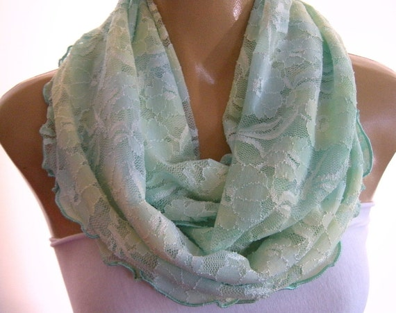 Easy Lace...Mint and Lime...Infinity Scarf..Ruffled Scarf...Every possible color is coming.