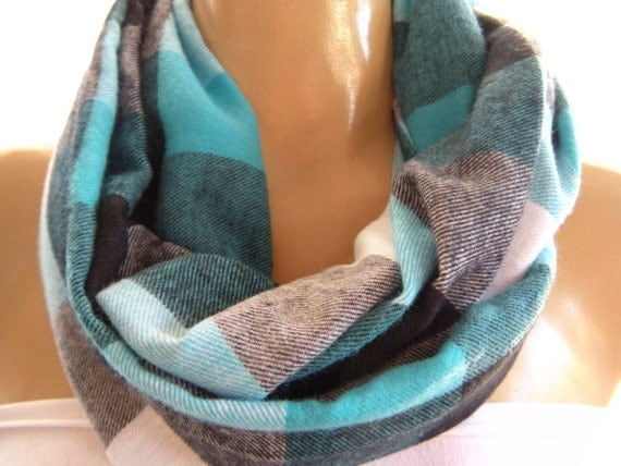 Casual Plaids...Warm Flannel.. Cowl....Black, White , Turquoise  and Gray ..Mobius scarf...Infinity Scarf..