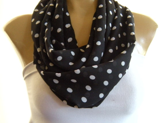 Classy  Polka Dots...Black and White... .Necklace scarf..Infinity scarf..Tube version