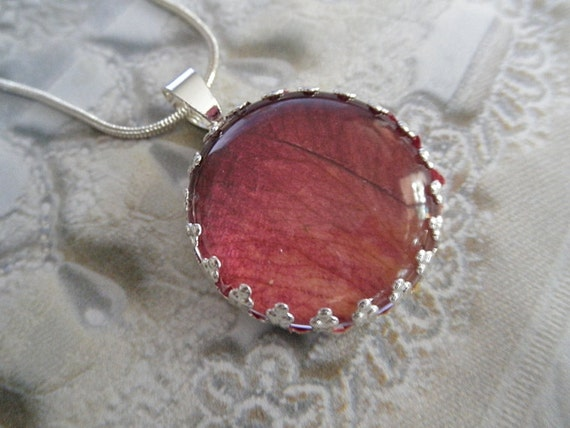 Fire And Ice Ombre Rose Petal Beneath Glass-Pressed Flower Crown Pendant-Symbolizes Unity