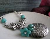 Necklace Flower Locket, Antique Silver Locket, Vintage Aqua Blue Necklace Locket, Floral - Aqua JARDIN