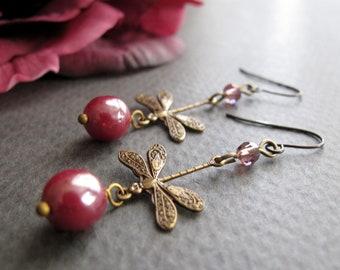 Dragonfly Earrings,  Antique Gold Brass Earrings, Dangle Vintage Dragonflies, Burgundy - RIVERBEND