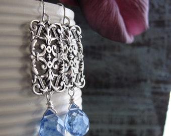 Vintage Dangle Earrings, Silver Filigree Earrings, Blue Drop Earrings Briolettes - TRELLIS