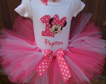 Hot Pink and white custom boutique monogrammed personalized minnie mouse birthday tutu set