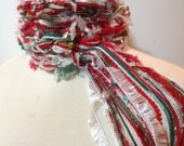 The Pippy CHRISTMAS Scarf - Greens, Reds, Silver and White, Crochet Scarf