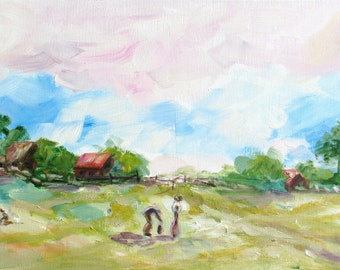 large impasto art, original oil painting, abstract canvas landscape, impressionism figure fall harvest art, autumn art, home decor, 12 x 24