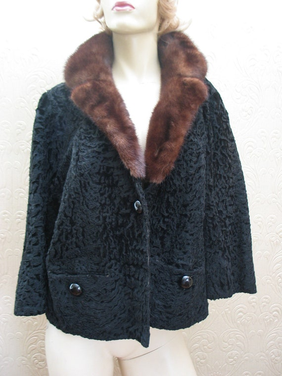 Vintage 50's Mr John black broadtail lamb fur sable hue mink collar bolero jacket coat