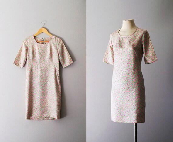 60s dress / 1960s floral silk mini dress / Micro Bloom dress