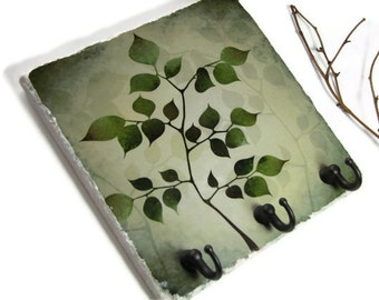 Green Tree Art Key Rack, Natural Decor, Key Hook Jewelry Organizer, Wall Hook Key Holder, Earthy Colors (16)