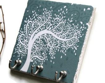 Swirly Curly Tree Decor Key Rack, Wall Key Holder, Custom Colors, Key Hanger, Jewelry Organizer, Teal Wall Hooks (14)