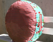 Round Pouf Great for Lounging mint green and cherry Oilcloth