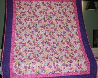 Floral Delight Kids Decor/Bed/Lap/Wall Quilt
