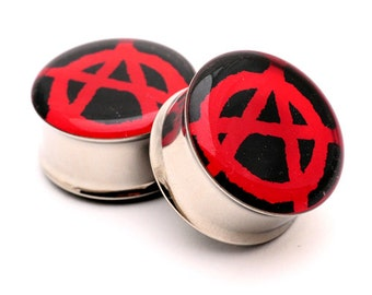 Anarchy Picture Plugs gauges - 16g, 14g, 12g, 10g, 8g, 6g, 4g, 2g, 0g, 00g, 1/2, 9/16, 5/8, 3/4, 7/8, 1 inch