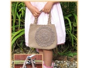 ENGLISH Instructions ONLY - Instant Download PDF Crochet Pattern Brown Doily Hand Bag
