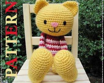 ENGLISH Instructions - Instant Download PDF Crochet Pattern Huggy Cat