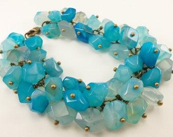 Blue Cluster Bracelet Agate Bracelet Blue Jewelry Beaded Bracelet Everyday Jewelry Creamy Blue Antiqued Brass