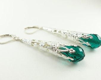 Long Silver Dangle Earrings Emerald Green Filigree Earrings Leverback Victorian