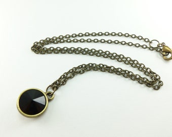 Black Crystal Necklace Circle Pendant Antiqued Brass Jet Black Necklace