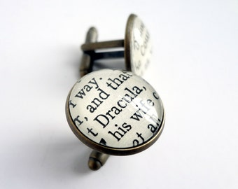 Dracula Cufflinks, Black White Cufflinks, Book Cufflinks