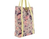 Gray Pink Navy Floral Cotton Tote with Pale Green Lining