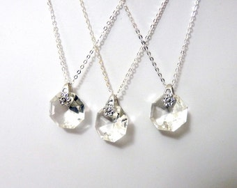 Set of 3 Sparkling Flower Crystal Necklaces- Silver Plated - small-   Upcycled antique chandelier prism pendant- Reclaimed Beauty