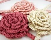 Pink Crochet Headband, Baby Girl Hair Accessories
