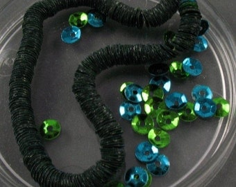 Vintage Sequins -  4mm Blue and Green Metallic Color