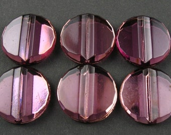 Vintage German Glass Cabochons - 6 Purple