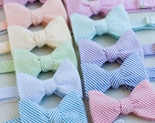 The Beau- men's stripe seersucker freestyle self-tie bow ties- 13 available shades