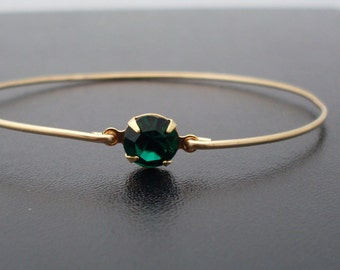 Green Bangle Bracelet, Helena - Gold, Green Rhinestone, Green Bracelet, Green Jewelry, Green Bangle Bracelet, Green Bracelet