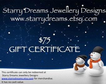 Jewellery Gift Certificate Seventy Five Dollars