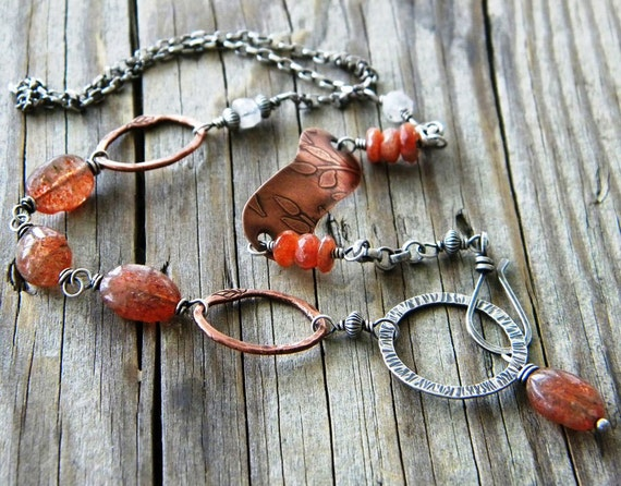 Sunstone Sterling Silver Copper Necklace Orange Oval Bead Rustic Artisan Jewelry
