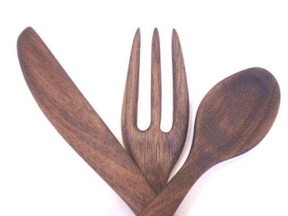 Wooden Utensils Fork Spoon Knife - Black Walnut - Hand Shaped No 29